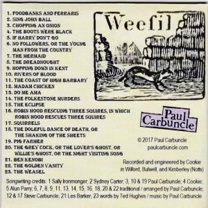 Paul Carbuncle As A Weasel Sucks Eggs CD (sleeve back)